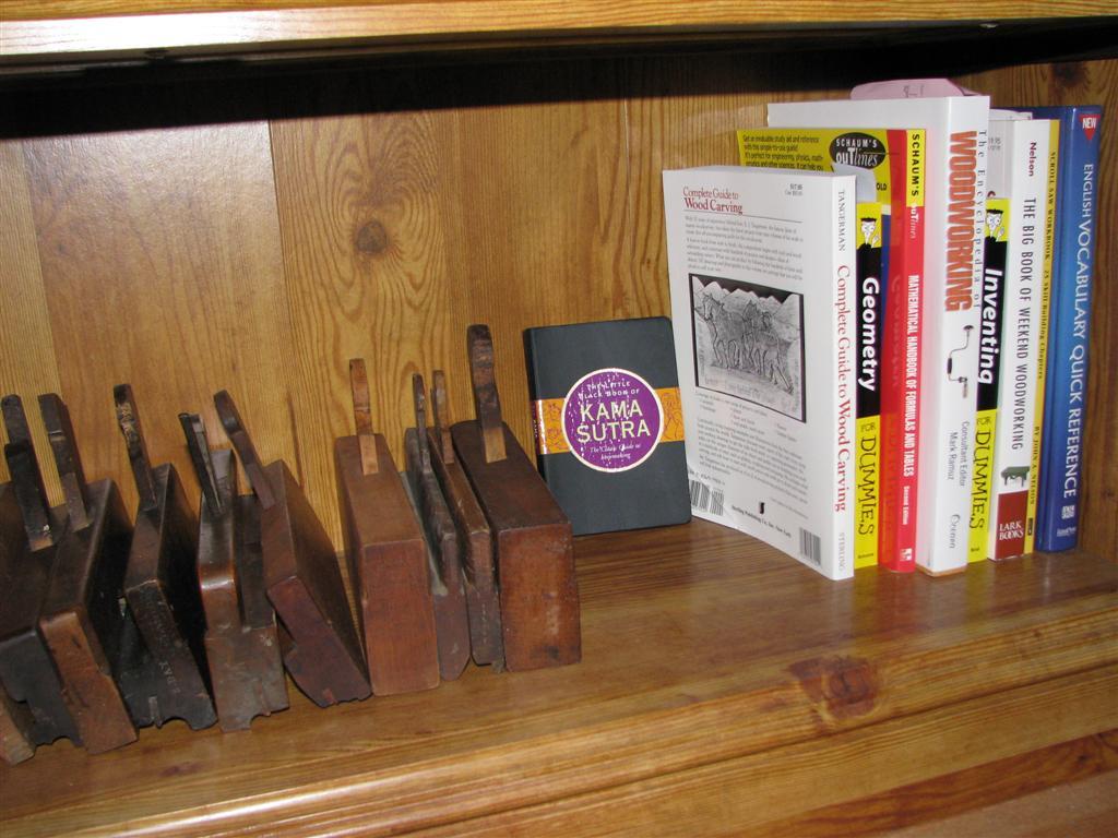 Last shelf of woodworking books